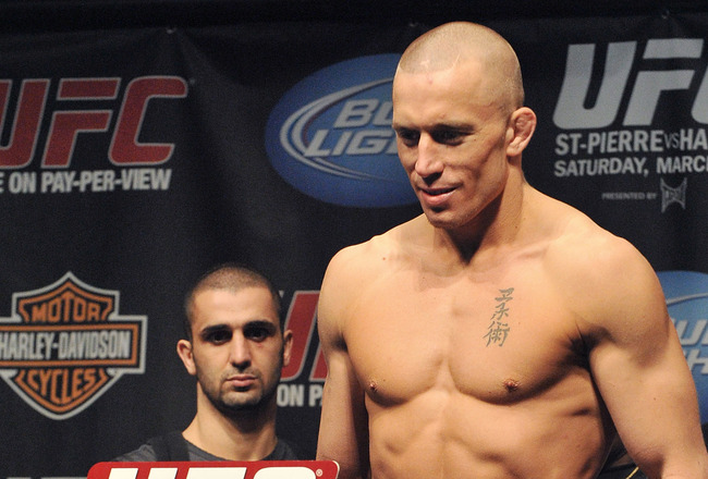 NEWARK, NJ - MARCH 26:  UFC fighter Georges St-Pierre (pictured) weighs in for his fight against UFC fighter Dan Hardy for the Championship Welterweight fight at UFC 111: St-Pierre vs. Hardy Weigh-In on March 26, 2010 in Newark, New Jersey.  (Photo by Jon