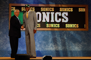 NEW YORK - JUNE 26:  NBA Commissioner David Stern shakes hands with number four draft pick for the Seattle SuperSonics, Russell Westbrook during the 2008 NBA Draft at the Wamu Theatre at Madison Square Garden June 26, 2008 in New York City. NOTE TO USER: