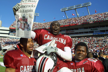 1 Jan 2002:  South Carolina player Antoine Nesmith, #1, is carried off the field by teammates after beating Ohio State 31-28 in the Outback Bowl at Raymond James Stadium in Tampa, Florida.  DIGITAL IMAGE. Mandatory Credit: Scott Halleran/Getty Images