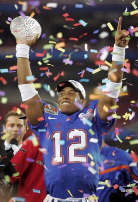 GLENDALE, AZ - JANUARY 08:  Quarterback Chris Leak #12 of the Florida Gators celebrates after defeating the Ohio State Buckeyes after the 2007 Tostitos BCS National Championship Game at the University of Phoenix Stadium on January 8, 2007 in Glendale, Ari