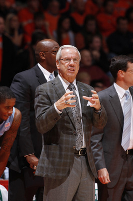 CHAMPAIGN, IL - NOVEMBER 30: North Carolina Tar Heels head coach Roy Williams looks on against the Illinois Fighting Illini during the 2010 ACC/Big Ten Challenge at Assembly Hall on November 30, 2010 in Champaign, Illinois. Illinois defeated the Tar Heels