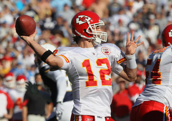 SAN DIEGO - DECEMBER 12:  Quarterback Brodie Croyle #12 of the Kansas City Chiefs throws a pass against the San Diego Chargers at Qualcomm Stadium on December 12, 2010 in San Diego, California.  (Photo by Stephen Dunn/Getty Images)
