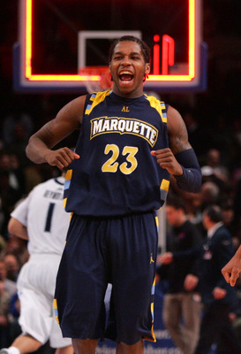 NEW YORK - MARCH 11: Dwight Buycks #23 of the Marquette Golden Eagles celebrates after defeating the Villanova Wildcats during the quarterfinal of the 2010 NCAA Big East Tournament at Madison Square Garden on March 11, 2010 in New York City.  (Photo by Ch