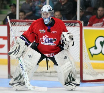 WINDSOR, ON - JANUARY 20:  Calvin Pickard #1 of Team Cherry waits for a shot during the Home Hardware CHL/NHL Top Prospects game against Team Orr on January 20, 2010 at the WFCU Centre in Windsor, Ontario. Team Cherry defeated Team Orr 4-2. (Photo by Clau