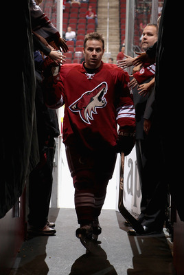 GLENDALE, AZ - DECEMBER 04:  Ray Whitney #13 of the Phoenix Coyotes leaves the ice from warm ups to the NHL game against the Florida Panthers at Jobing.com Arena on December 4, 2010 in Glendale, Arizona.  The Panthers defeated the Coyotes 2-1 in an overti