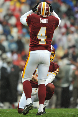 LANDOVER, MD - DECEMBER 12:  Graham Gano #4 of the Washington Redskins reacts to one of two missed field goals during the game against the Tampa Bay Buccaneers  at FedExField on December 12, 2010 in Landover, Maryland. The Buccaneers defeated the Redskins