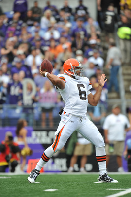 BALTIMORE - SEPTEMBER 26:  Seneca Wallace #6 of the Cleveland Browns passes against the Baltimore Ravens  at M&T Bank Stadium on September 26, 2010 in Baltimore, Maryland. The Ravens lead the Browns at the half 14-10. (Photo by Larry French/Getty Images)