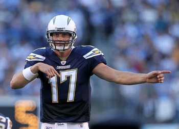 SAN DIEGO - DECEMBER 12:  Quarterbaqck Philip Rivers #17 of the San Diego Chargers calls signals in the game against the Kansas City Chiefs at Qualcomm Stadium on December 12, 2010 in San Diego, California.  the Chargers won 31-0.  (Photo by Stephen Dunn/