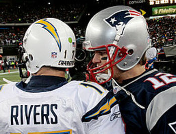 Brady and Rivers talking post-game.