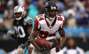 CHARLOTTE, NC - DECEMBER 12:  Roddy White #84 of the Atlanta Falcons reacts after making a catch against the Carolina Panthers during their game at Bank of America Stadium on December 12, 2010 in Charlotte, North Carolina.  (Photo by Streeter Lecka/Getty