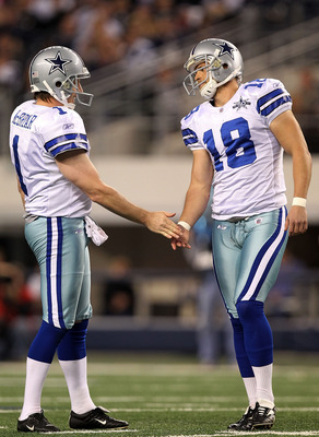 ARLINGTON, TX - DECEMBER 12:  Kicker David Buehler #18 of the Dallas Cowboys celebrates a field goal with Mat McBriar against the Philadelphia Eagles at Cowboys Stadium on December 12, 2010 in Arlington, Texas.  (Photo by Ronald Martinez/Getty Images)