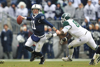 STATE COLLEGE, PA - NOVEMBER 27: Quarterback Matt McGloin #11 of the Penn State Nittany Lions scrambles out of the pocket during a game against the Michigan State Spartans on November 27, 2010 at Beaver Stadium in State College, Pennsylvania. The Spartans