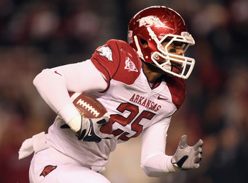 COLUMBIA, SC - NOVEMBER 06:  Terrell Williams #25 of the Arkansas Razorbacks against the South Carolina Gamecocks during their game at Williams-Brice Stadium on November 6, 2010 in Columbia, South Carolina.  (Photo by Streeter Lecka/Getty Images)