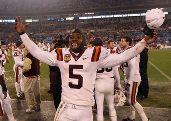 CHARLOTTE, NC - DECEMBER 04:  Tyrod Taylor #5 of the Virginia Tech Hokies celebrates after defeating the Florida State Seminoles on their way to winning the ACC Championship 44-33 at Bank of America Stadium on December 4, 2010 in Charlotte, North Carolina