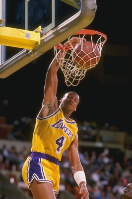 1990:  Guard Byron Scott of the Los Angeles Lakers slam dunks during a game at the Great Western Forum in Inglewood, California.   Mandatory Credit: Mike Powell  /Allsport