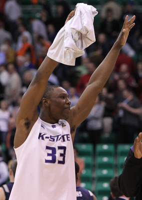 SALT LAKE CITY - MARCH 25:  Wally Judge #33 of the Kansas State Wildcats celebrates after defeating the Xavier Musketeers during the third round of the 2010 NCAA men�s basketball tournament at the Energy Solutions Arena on March 25, 2010 in Salt Lake City