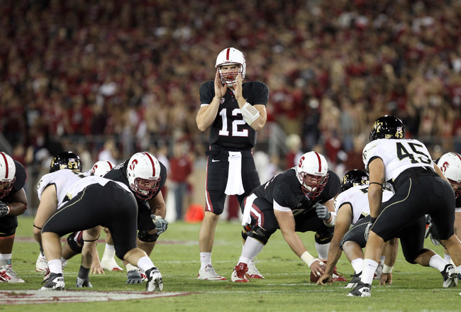 PALO ALTO, CA - SEPTEMBER 18:  Andrew Luck #12 of the Stanford Cardinal in action against the Wake Forest Demon Deacons at Stanford Stadium on September 18, 2010 in Palo Alto, California.  (Photo by Ezra Shaw/Getty Images)
