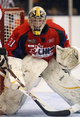 OSHAWA, ON - JANUARY 14:  Olivier Roy #31 of Team Orr keeps his eye on the play in the 2009 Home Hardware CHL/NHL Top Prospects Game against Team Cherry on Wednesday January 14, 2009 at the General Motors Centre in Oshawa, Ontario. Team Orr defeated Team