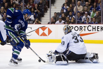 VANCOUVER, CANADA - DECEMBER 11: of the Vancouver Canucks of the Tampa Bay Lightning during the second period in NHL action on December 11, 2010 at Rogers Arena in Vancouver, BC, Canada.  (Photo by Rich Lam/Getty Images)