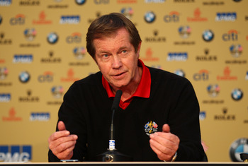 NEWPORT, WALES - OCTOBER 01:  George O'Grady, Chief Executive of the European Tour answers questions at a press conference during the Morning Fourball Matches during the 2010 Ryder Cup at the Celtic Manor Resort on October 1, 2010 in Newport, Wales.  (Pho