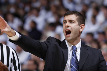 CINCINNATI, OH - DECEMBER 9: Butler Bulldogs head coach Brad Stevens looks on against the Xavier Musketeers at Cintas Center on December 9, 2010 in Cincinnati, Ohio. Xavier defeated Butler 51-49. (Photo by Joe Robbins/Getty Images)