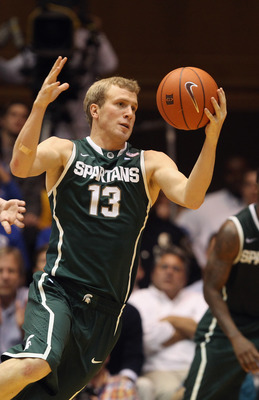 DURHAM, NC - DECEMBER 01:  Austin Thornton #13 of the Michigan State Spartans against the Duke Blue Devils during their game at Cameron Indoor Stadium on December 1, 2010 in Durham, North Carolina.  (Photo by Streeter Lecka/Getty Images)