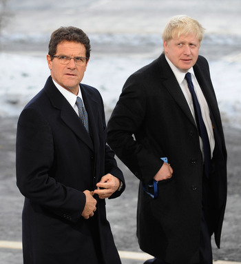 ZURICH, SWITZERLAND - DECEMBER 02: England Manager Fabio Capello arrives with London Mayor Boris Johnson before the FIFA World Cup 2018 & 2022 Host Announcement on December 2, 2010 in Zurich, Switzerland.  (Photo by Michael Regan/Getty Images)
