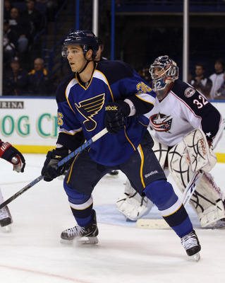 ST LOUIS, MO - DECEMBER 09:  Matt D'Agostini #36 of the St. Louis Blues skates against the Columbus Blue Jackets at the Scottrade Center on December 9, 2010 in St Louis, Missouri. The Blues defeated The Blue Jackets 4-1.  (Photo by Bruce Bennett/Getty Ima