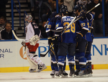 ST LOUIS, MO - DECEMBER 09:  Alexander Steen #20 of the St. Louis Blues opens the scoring with a power play goal at 1:14 of the first period against the Columbus Blue Jackets at the Scottrade Center on December 9, 2010 in St Louis, Missouri.  (Photo by Br