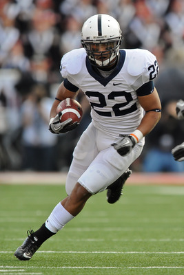 COLUMBUS, OH - NOVEMBER 13:  Evan Royster #22 of the Penn State Nittany Lions runs with the ball against the Ohio State Buckeyes at Ohio Stadium on November 13, 2010 in Columbus, Ohio.  (Photo by Jamie Sabau/Getty Images)