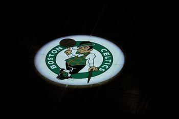 BOSTON - JUNE 10:  A detail of the Boston Celtics logo as the Celtics get set to play against the Los Angeles Lakers during Game Four of the 2010 NBA Finals on June 10, 2010 at TD Garden in Boston, Massachusetts. NOTE TO USER: User expressly acknowledges