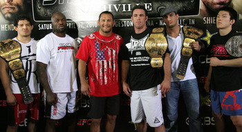 HOLLYWOOD - MARCH 17:  (L-R)  Strikeforce World Lightweight Champion Gilbert 'El Nino' Melendez, Undefeated Light Heavyweight contender 'King Mo' Lawal, Legendary MMA Superstar, two time Olympic Wrestler Dan Henderson, Strikeforce World Middleweight Champ