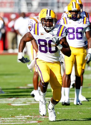 TUSCALOOSA, AL - NOVEMBER 07:  Terrance Toliver #80 of the Louisiana State University Tigers against the Alabama Crimson Tide at Bryant-Denny Stadium on November 7, 2009 in Tuscaloosa, Alabama.  (Photo by Kevin C. Cox/Getty Images)