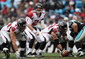 CHARLOTTE, NC - DECEMBER 12:  Matt Ryan #2 of the Atlanta Falcons against the Carolina Panthers during their game at Bank of America Stadium on December 12, 2010 in Charlotte, North Carolina.  (Photo by Streeter Lecka/Getty Images)