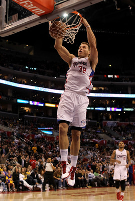 LOS ANGELES, CA - DECEMBER 8: Blake Griffin #32 of the Los Angeles Clippers dunks against the Los Angeles Lakers at Staples Center on December 8, 2010 in Los Angeles, California. The Lakers won 87-86.  NOTE TO USER: User expressly acknowledges and agrees