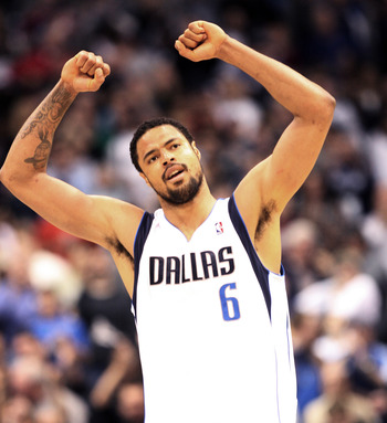 DALLAS - NOVEMBER 27: Tyson Chandler #6 of the Dallas Mavericks celebrates victory over the Miami Heat on November 27, 2010 at the American Airlines Center in Dallas, Texas. NOTE TO USER: User expressly acknowledges and agrees that, by downloading and or