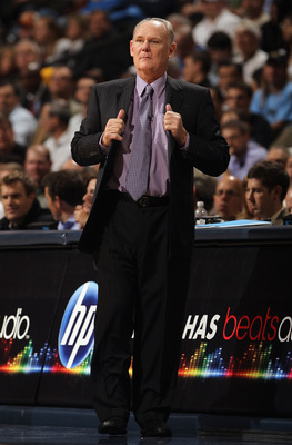 DENVER - NOVEMBER 11:  Head coach George Karl of the Denver Nuggets directs his team against the Los Angeles Lakers at the Pepsi Center on November 11, 2010 in Denver, Colorado. The Nuggets defeated the Lakers 118-112.  NOTE TO USER: User expressly acknow
