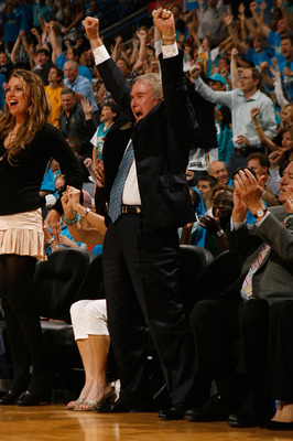 NEW ORLEANS - APRIL 19:  Team owner George Shinn of the New Orleans Hornets celebrates during the game against the Dallas Mavericks in Game One of the Western Conference Quarterfinals during the 2008 NBA Playoffs at The New Orleans Arena on April 19, 2008