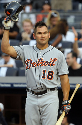 NEW YORK - AUGUST 16:  Johnny Damon #18 of the Detroit Tigers salutes the crowd prior to his first at bat against the New York Yankees on August 16, 2010 at Yankee Stadium in the Bronx borough of New York City.  (Photo by Jim McIsaac/Getty Images)