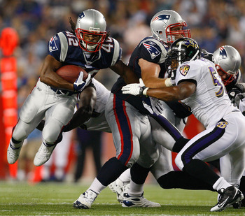 FOXBORO, MA - AUGUST 7: BenJarvis Green-Ellis #42 of the New England Patriots runs the ball against the Baltimore Ravens during a preseason game at Gillette Stadium on August 7, 2008 in Foxboro, Massachusetts. (Photo by Jim Rogash/Getty Images)