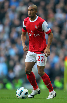 MANCHESTER, ENGLAND - OCTOBER 24:  Gael Clichy of Arsenal in action during the Barclays Premier League match between Manchester City and Arsenal at City of Manchester Stadium on October 24, 2010 in Manchester, England.  (Photo by Clive Rose/Getty Images)