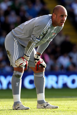 BIRMINGHAM, ENGLAND - SEPTEMBER 12:   Pepe Reina of Liverpool looks on during the Barclays Premier League match between Birmingham City and Liverpool at St Andrew's Stadium on September 12, 2010 in Birmingham, England. (Photo by Ross Kinnaird/Getty Images