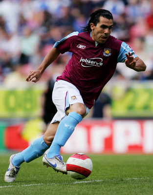 WIGAN, UNITED KINGDOM - APRIL 28:  Carlos Tevez of West Ham in action during the Barclays Premiership match between Wigan Athletic and West Ham United at The JJB Stadium on April 28, 2007 in Wigan, England.  (Photo by Gary M. Prior/Getty Images)