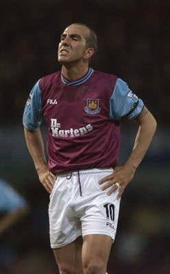 LONDON - JANUARY 29:  Paolo Di Canio of West Ham stands with his hands on his hips during the FA Barclaycard Premiership match between West Ham United v Blackburn Rovers at Upton Park, London on January 29, 2003. (Photo by Jamie McDonald/Getty Images)