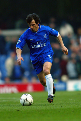 LONDON - FEBRUARY 22:  Gianfranco Zola of Chelsea runs with the ball during the FA Barclaycard Premiership match between Chelsea and Blackburn Rovers held on February 22, 2003 at Stamford Bridge, in London. Blackburn Rovers won the match 2-1. (Photo by Be