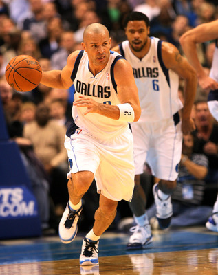 DALLAS - NOVEMBER 27: Jason Kidd #2 of the Dallas Mavericks drives the ball against the Miami Heat  on November 27, 2010 at the American Airlines Center in Dallas, Texas. NOTE TO USER: User expressly acknowledges and agrees that, by downloading and or usi