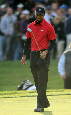 THOUSAND OAKS, CA - DECEMBER 5:  Tiger Woods reacts as his birdie putt attempt misses on the first playoff hole during the final round of the Chevron World Challenge at Sherwood Country Club on December 5, 2010 in Thousand Oaks, California. Graeme McDowel