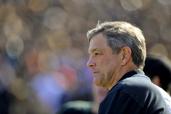 IOWA CITY, IA - OCTOBER 30- Kirk Ferentz head coach of the University of Iowa Hawkeyes looks on from the sidelines during the Michigan State Spartans NCAA college football game at Kinnick Stadium on October 30, 2010 in Iowa City, Iowa. Iowa won 37-6 over