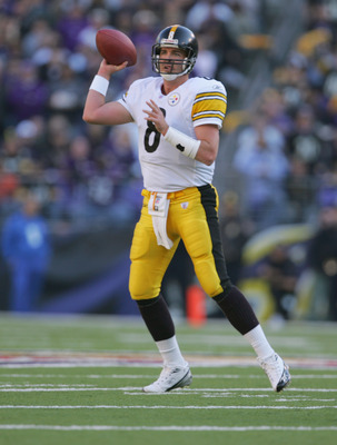 BALTIMORE - NOVEMBER 20:  Quarterback Tommy Maddox #8 of the Pittsburgh Steelers passes the ball during the game against the Baltimore Ravens on November 20, 2005 at M&T Bank Stadium in Baltimore, Maryland. (Photo by:Jamie Squire/Getty Images)