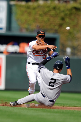 BALTIMORE - SEPTEMBER 19:  Cesar Izturis #3 of the Baltimore Orioles forces out Derek Jeter #2 of the New York Yankees to start a double play at Camden Yards on September 19, 2010 in Baltimore, Maryland.  (Photo by Greg Fiume/Getty Images)